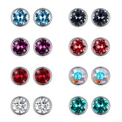 подарок для продвижения моды серьги украшения заявление подарок элегантный Crystal красочный 925 серебристые Earring простой шпильки крепления серьги для женщин