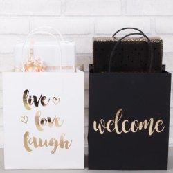 Banheira de venda de folha de Ouro Preto e branco impressas dom de embalagens de papel bag