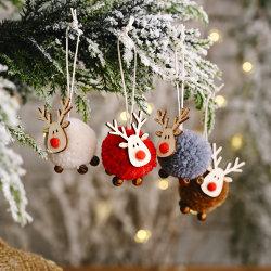Netter Filz-hölzerne Elch-Weihnachtsbaum-Dekorationen, die hängende Rotwild-Fertigkeit-Verzierung-Weihnachtsdekorationen für neues Hauptjahr 2021 hängen