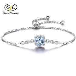 Simple Joyería de Plata topacio azul Square Manin Stone Bracelet Bisutería