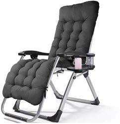 كرسي ذو طي لا قوة جاذبية مع وسادة ثابتة ومنصة للقدم مربعة، مناسب للاستخدام في الأماكن الخارجية