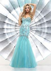 名声の走路のDress青のOrganza Crystal Beading Evening Dress Sweetheart Formal Prom Dresses Mermaid