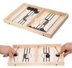 Medida de alta calidad de hockey de mesa Toy Parent-Child catapulta juego interactivo de expulsión de ajedrez rápido juego de tablero de madera de la eslinga de Puck