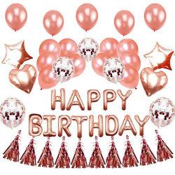 Globo de cumpleaños de 16 pulgadas conjunto oro rosa Feliz Cumpleaños Carta Globo lámina de oro rosa Sequined Borla Globo para decoración de fiesta