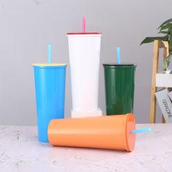 Grad-Edelstahl-einfache und stilvolle gerade Trommel-bewegliches Cup-Wasser-Glas der Nahrung304, das verschiedene Farben mit Stroh abgleicht