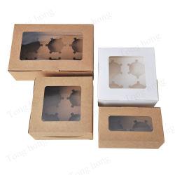 卸し売り習慣6パックのコップのケーキの明確なふたが付いているペーパー包装のマフィンのパン屋のスイスロールのデザートの甘いペストリーのカップケーキボックス