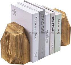 Holocausto rústico estilo geométrica Bookends sólidos de madeira, Conjunto de 2