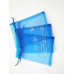 Exquisito promocionales Cordón Organza azul pura bolsa para el embalaje de joyería