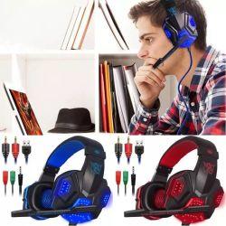 アマゾンLEDの賭博のヘッドセットが付いているコンピュータ・ゲームのヘッドバンドのヘッドホーンのための熱いSy830mv賭博のHeaset 2 3.5mm USBワイヤーヘッドセット