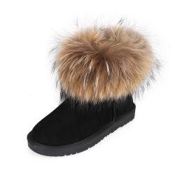 Custom роскошь Raccoon меховые из натуральной кожи крупного рогатого скота женщин снег загружается