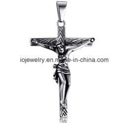 أسود يكسى [هندمد] شعبيّة صليب مدلّاة مسيحيّة مجوهرات