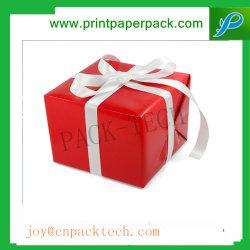 Gâteau Vintage Box boîte cadeau avec soft de la forme de ruban personnalisé