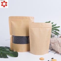 Пользовательские цвета встать крафт-бумаги Ziplock сумку с прозрачное окно для упаковки продуктов питания