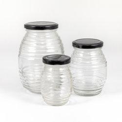 100ml/250ml/500ml/1000ml de transparante Ronde Glas Ingepaste Kruik van de Honing met het Deksel van het Tin
