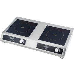 Carter acier inoxydable double brûleur 3500W + 3500W Commercial cuisinière induction