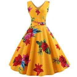 여성 보우노벨트 인쇄 여름 꽃 청소년 파티 차 드레스
