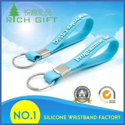 Commerce de gros de la promotion de la chaîne de clé mobile en PVC bleu avec logo en relief de trousseau de silicium