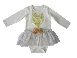 De Baby van uitstekende kwaliteit kleedt de Gouden Hoogte van het Hart - Bodysuit van het Meisje van het Af:drukken van de dichtheid de Rok van het Netwerk