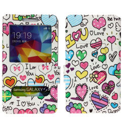 S6를 위한 2 Window Colorful PU Leather Case Flip Cover