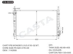 Radiatore automatico di alluminio utilizzato dell'acqua per Ford Mondeo2.5/3.0'00-02mt