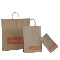 Gerecycled bruin/wit Kraft papier Shopping Gift Carrier Packing Bag met Draai de hendel