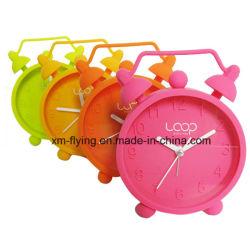 Commerce de gros couleur Fluencent Décoration maison Twin Bell silicone Mini réveil de table