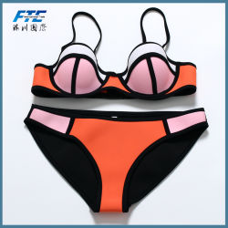 Frauen-Bikini drücken reizvoller Mädchen-Neopren-Bikini-gesetzten Badeanzug hoch