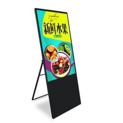 Suelo de 32 pulgadas Plegable Portátil de pantalla LCD HD de red WiFi el reproductor de medios de publicidad Digital Signage para Restaurante/Hotel/Promoción