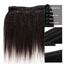未加工柔らかいバージンの毛のWefted厚く、きれいな安いブラジルのねじれたYakiの毛