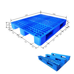 1200*1000*155mm Plastic Tray HDPE Op zwaar werk berekende 1.5t Rack Load Plastic Pallet met 8 Steel voor Warehouse Products