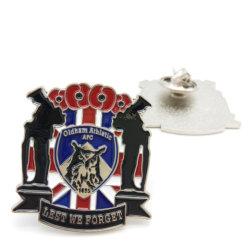 prix d'usine émail doux plaqué nickel personnalisé de l'épinglette Art métal UK Drapeau bouton uniforme de la Police militaire de la décoration d'un insigne avec fermoir papillon (BG54)