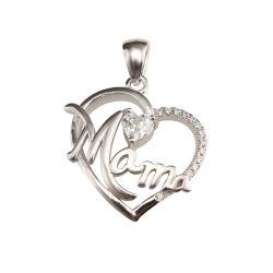 Comercio al por mayor Joyas de plata esterlina 925 Collar de Corazón Colgante personalizados para mamá