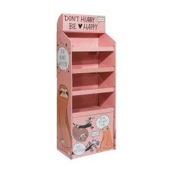 Banco di mostra cosmetico del cartone di schiocco di posizione della mensola della cremagliera al minuto di carta dei supermercati