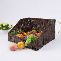 Пластиковый плетеной супермаркет полок корзины для хранения фруктов и дисплей