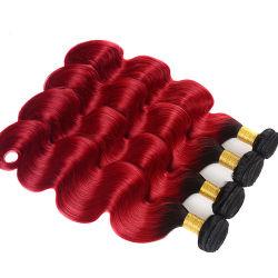 9A #1b/Red Ombre corps brésilien vague des cheveux humains
