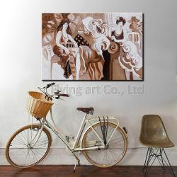 Впечатление вручную современных девочек масляной живописи - на стене