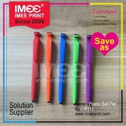 Imeeはロゴのレーザーによって刻まれた印刷された敏感なすべり止めのプラスチック球ポイントボールペンをカスタマイズした