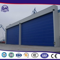 産業造船所の航空機の飛行機の航空空港メガ自動機密保護PVCファブリック巨大で適用範囲が広い折るスタッキングの持ち上がる入口PVCファブリック格納庫のドア