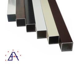 Rectángulo con recubrimiento de polvo de color aluminio de extrusión de tubo