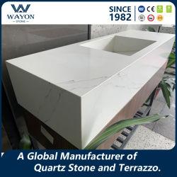 Prix de gros dalle Calacatta Quartz/Quartz carreau carrelage de sol// pour la cuisine d'un comptoir/matériaux de construction WG412
