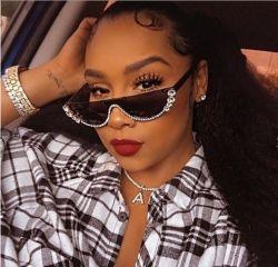 2020 Brand designer personnalisé de haute qualité UV400 Fashion femmes de la moitié Frame gafas de sol Diamond Bling Lunettes de soleil