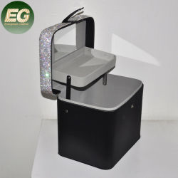 Ea029 Сверкание Diamond провод фиолетового цвета кожи профессиональный макияж поезд с портативное устройство для хранения больших наружных зеркал заднего вида Rhinestone косметическом салоне органайзера