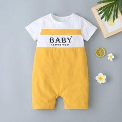 Verão White-Yellow bebê novo alfabeto correspondente Romper a desgaste