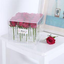 Grande promoção em acrílico de luxo acrílico transparente Floreira Floreira com caixa de embalagem de acrílico Retângulo gaveta