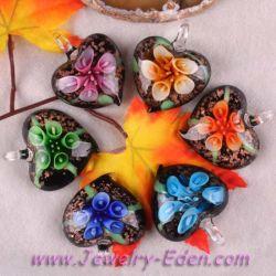 Lampworkのガラス花のペンダント(PS014)