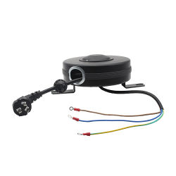18AWG 3G us 플러그 전원 케이블 스프링 로드됨 자동 접이식 연장 코드 릴