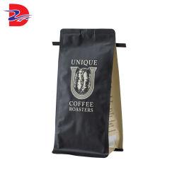 Grains de café en poudre pochette joint octogonal sac d'emballage avec la vanne de fermeture à glissière de boucle d'emballage de pliage