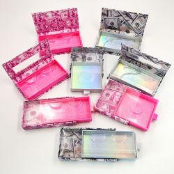 Nova caixa de embalagem pestanas falsas grossista 3D de visões falsas cílios DIY logotipo personalizado Cílios Dólar caso Caixa de Embalagem