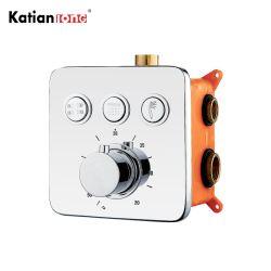 Salle de bains moderne Mélangeur de douche à trois fonctions bouton invisible Touch douche thermostatique robinet