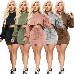 Großhandel Neuzugänge Frau Plus Größe Casual Solid Color 2 Piece Hoodie Sweatshirt Rock